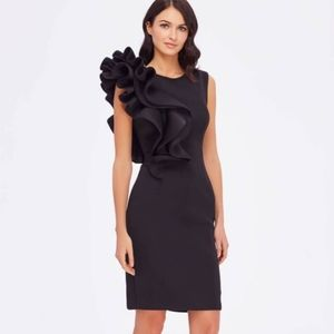 BETSY & ADAM Ruffled Scuba Sheath Dress SIZE 8